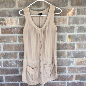 Bebe Small Button Front Khaki Casual Dress